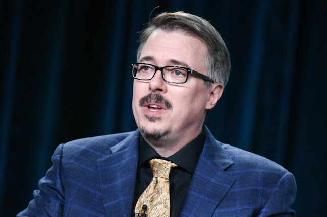 "Vince Gilligan speaks on stage during the ""Better Call Saul"" panel at the AMC 2015 Winter TCA on Saturday, Jan. 10, 2015, in Pasadena, Calif."