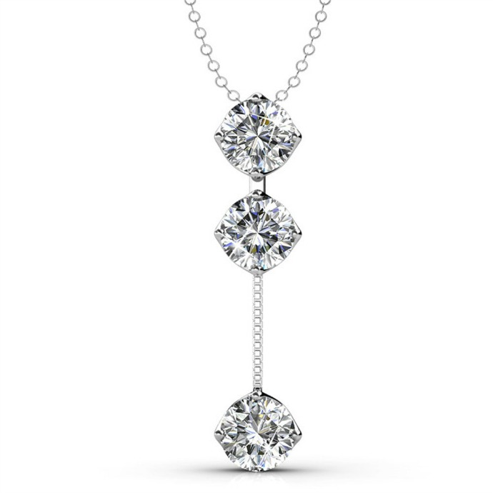 Valentine's Day Gift Guide - Cate & Chloe Sloane Hero Sterling Silver 18k White Gold Plated Swarovski Drop Necklace