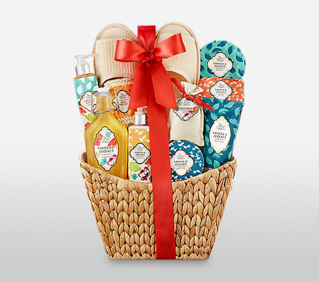Valentine's Day Gift Guide -Flora2000 Coconut Fresh Spa Hamper in a Basket